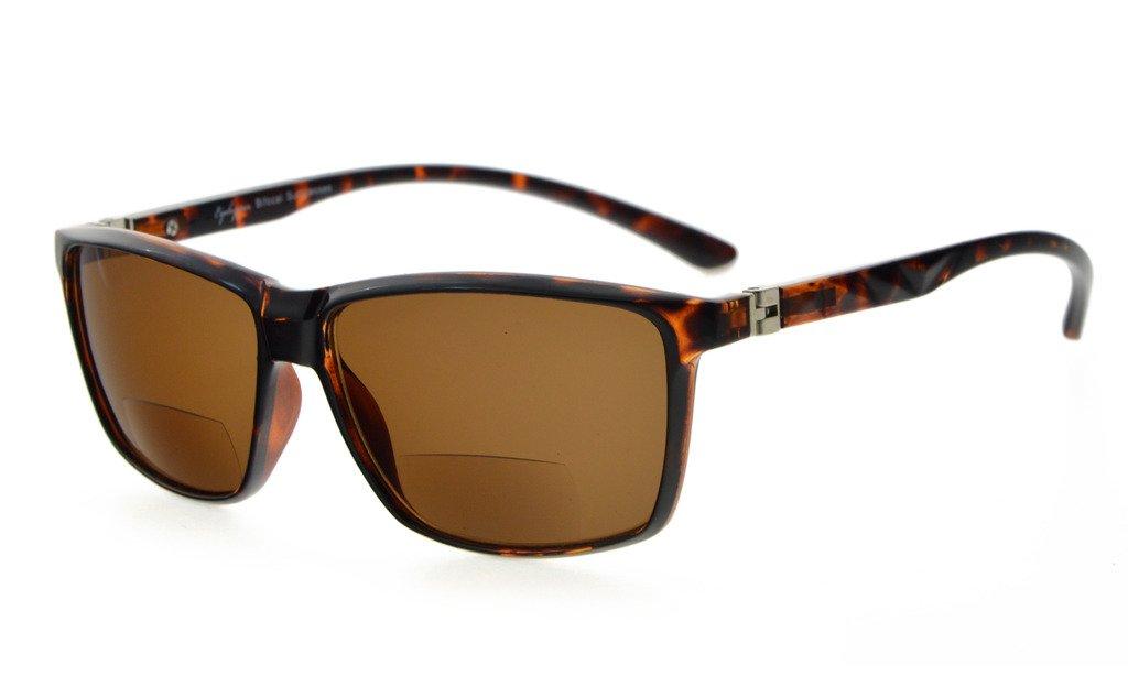 TALLA +1.00. Eyekepper Gafas bifocales con bisagras de resorte de 180° (Marco de la tortuga, lente marrón +1.0)