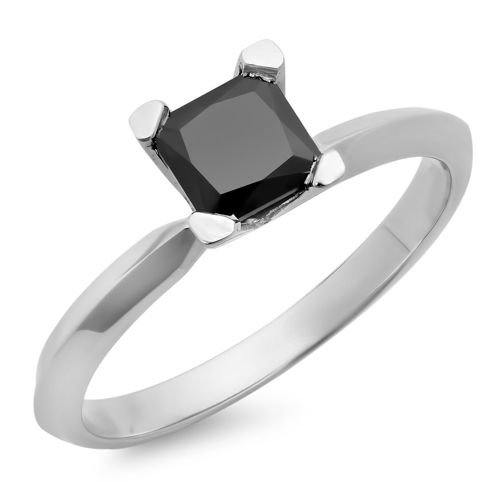 1.00 Carat (ctw) Sterling Silver Black Diamond Solitaire Bridal Engagement Ring 1 CT (Size 7)