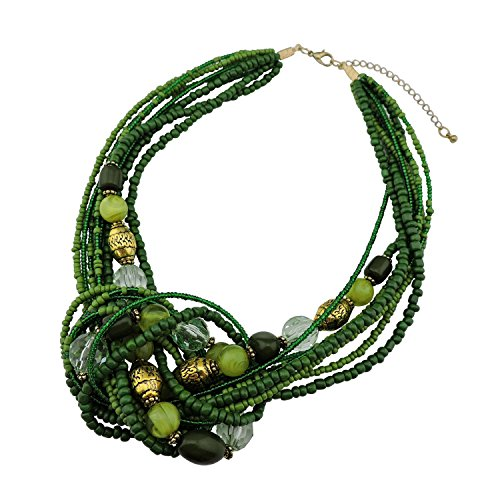 BOCAR Green Seed Beads Antique Gold Multilayer Statement Collar Necklace (Green Beads Gold Necklace)