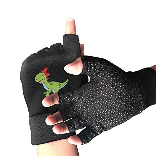 CITTS Halloween Cute Dinosaur Clipart Unisex Womens Mens Outdoor Light Anti-Skid Half-Finger Gloves
