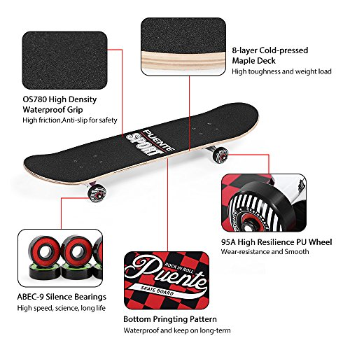 PUENTE Skateboards Complete for Adults and Kids Beginners, ABEC-9 BBS, 95A  Anti-Slip Smooth and Mute Wheel Skate Board (602 Black and Red)