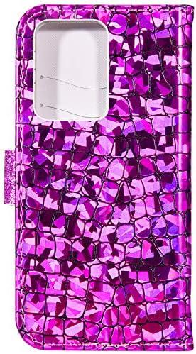Uposao Kompatibel mit Samsung Galaxy S20 Ultra Hülle Leder Handyhülle Glänzend Glitzer Bling Strass Diamant Wallet Hülle Klapphülle Brieftasche Schutzhülle Flip Case Magnet Kartenfach,Silber