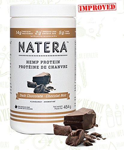 Top Hemp Protein Powder (1 lbs) Omega 3 and 6 (Dark Chocolate) NATERA Plant Based Supplement, Vegan Friendly, Made in Canada