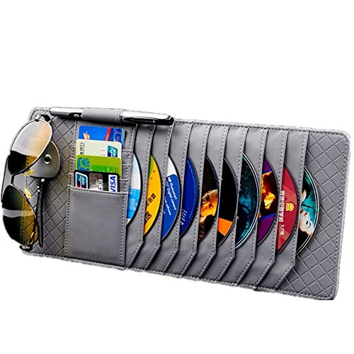 TO Design Auto Luxury Leather Auto Car Sun Visor Shade Organizer CD/DVD Sports Fashion Travel Holder Bag Cards Wallet Pocket Pen Glasses Clip  Cover Storage (grey)