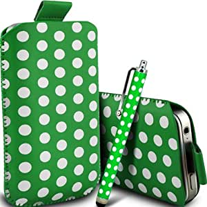 Fone-Case Nokia Asha 309 Protective Polka PU Leather Pull Cordlip In Pouch Quick Release Case & Mini Capacitivetylus Pen (Green & White)