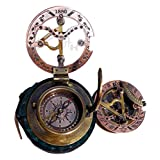 MAH Handmade Brass Sundial Compass Beautiful Gift Item with Leather Box.