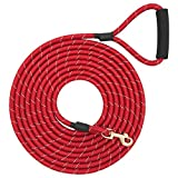 Shorven Nylon Strong Dog Rope Lead Reflective Training Dog Leash with Soft Handle 8-20 FT Long Red (Dia:0.5' 15FT)