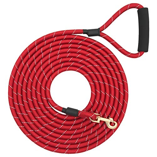 (Shorven Nylon Strong Dog Rope Lead Reflective Training Dog Leash with Soft Handle 8-20 FT Long Red (Dia:0.5