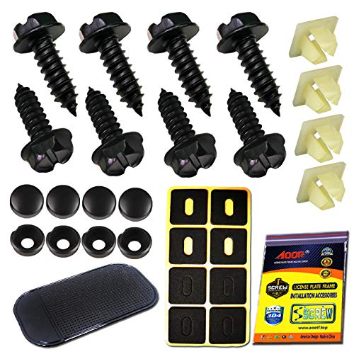 (Aootf Black License Plate Frame Screws-Stainless Steel Anti Rust and Caps for Securing License Plates, Frames, Covers on Domestic Cars and Trucks)