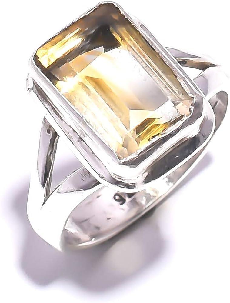 mughal gems & jewellery Anillo de Plata esterlina 925 Anillo de joyería Fina de Piedras Preciosas con topacio de limón Natural (tamaño 8 U.S)