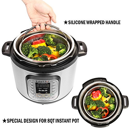 Aozita Steamer Basket for Instant Pot Accessories 8 Qt - Stainless Steel Steam Insert with Premium Silicone Handle for 8 Qt Pressure Cookers - Vegetables, Eggs, Meats, etc by Aozita (Image #2)