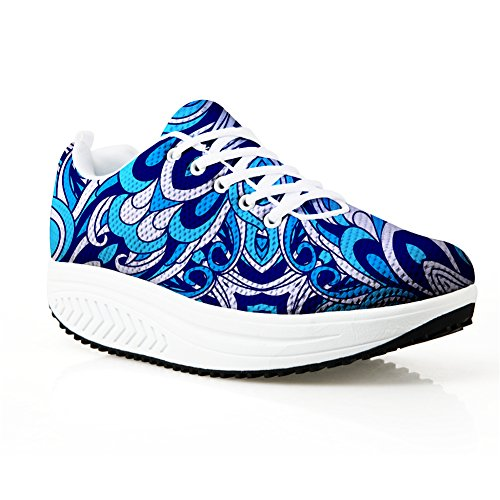 Blue Wedge Fitness Platform Bigcardesigns Fashion Shoes Sneaker Women Walking Casual zRxnSFYqw