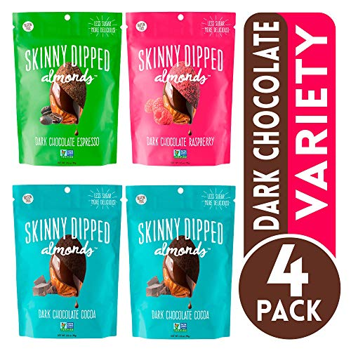 Skinny Dipped Almonds Dark Chocolate Covered Almonds, Pack of 4, Variety Pack of Cocoa, Espresso, Raspberry, Gluten Free, Low Sugar Snacks, 3.5 oz Resealable Bags (Best Snacks Under 200 Calories)