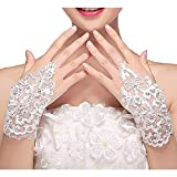 (US) M Bridal Women's Crystals Lace Fingerless Gloves for Wedding Party Brides Accessory G01 (Ivory)