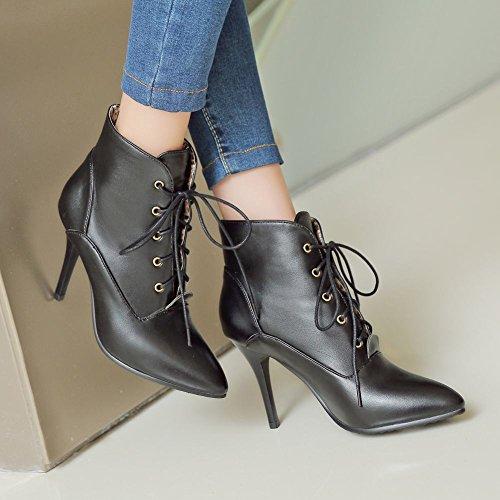 Carolbar Women's Elegant Chic Pointed Toe Stiletto High Heel Dress Boots Black RFlGoqkVGS