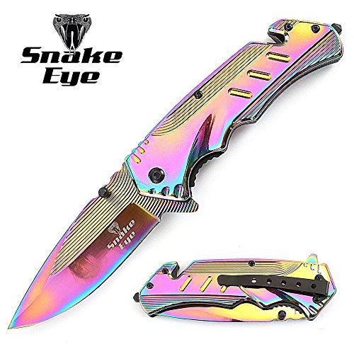 Snake-Eye-Tactical-Heavy-Duty-RAINBOW-Titanium-Coated-Handle-Assisted-Open-Folding-Pocket-Knife-Self-Defense-Everyday-Carry