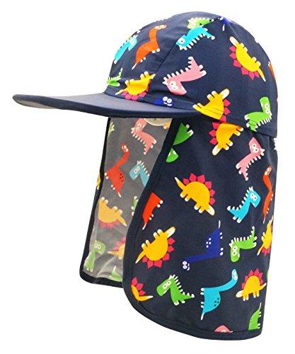 Happy Cherry Boys Sun Hat Soft Breathable Lightweight Neck Drawstring Dinosaur Print Flap Floppy Cap Black Print Spandex Hat