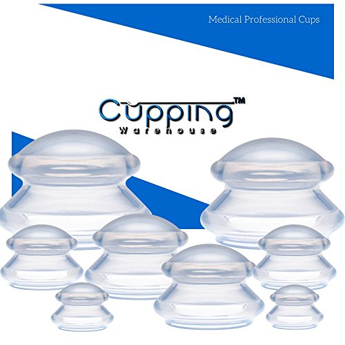 Cupping Warehouse Supreme PRO 6065 8 Cups  (4 Sizes) Professional and Home Use: Clear Chinese Silicone Massage Cupping Therapy Sets Vacuum Suction ()