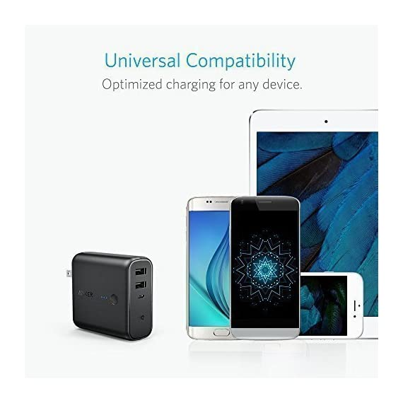Anker PowerCore Fusion 5000, Portable Charger 5000mAh 2-in-1 with Dual USB Wall Charger, Foldable AC Plug and PowerIQ… 5 The Anker Advantage: Join the 50 million+ powered by America's leading USB charging brand. The Ultimate 2-in-1 Charger: A hybrid high-capacity portable battery and dual-port wall charger in one sleek package. High-Speed Charging: In the wall or on-the-go, Anker's exclusive PowerIQ and VoltageBoost technologies ensure that all devices receive their fastest possible charge. Does not support Qualcomm Quick Charge.