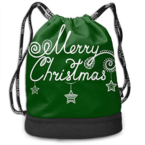 Bulk Drawstring Backpack, Lightweight Gym Sport Bundled Bag Wet Dry Separated Yoga String Cinch Tote Bag Multipurpose Casual Bag For Adult Kids - Merry Christmas]()