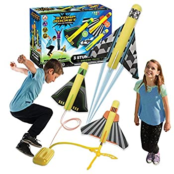 The Unique Stomp Rocket Stunt Planes Launcher – 3 Foam Planes and Toy Air Rocket Launcher – Out of doors Rocket STEM Presents for Boys and Ladies – Ages 5 (6, 7, 8) and Up – Nice for Out of doors Play