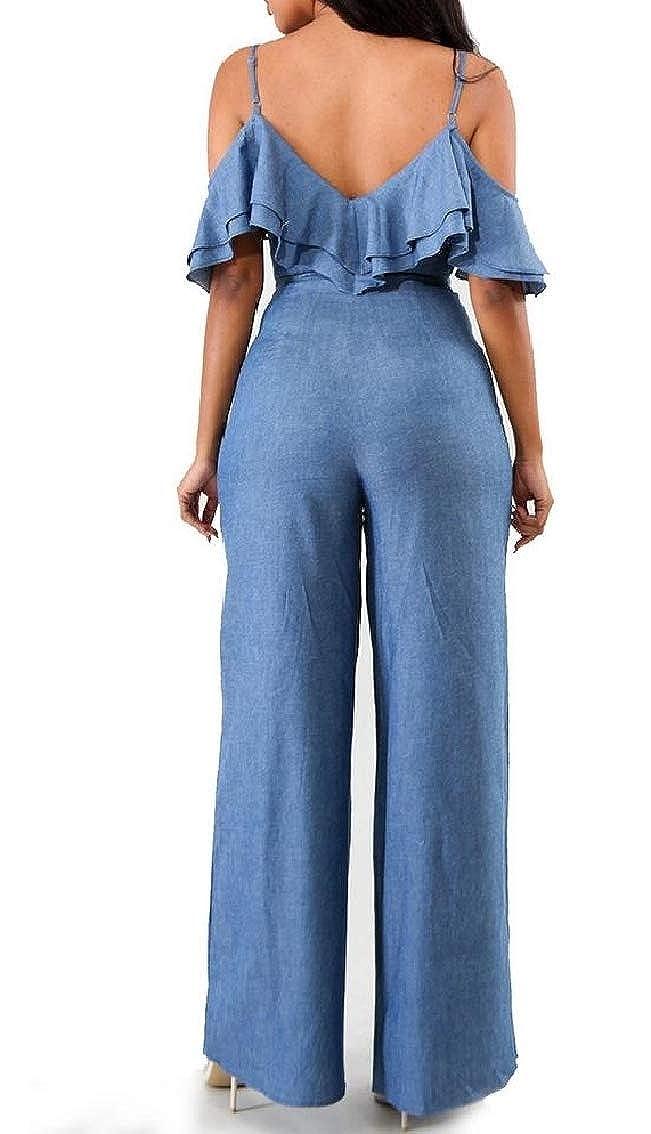 Fseason-Women Denim Simple Lace Up Sling Flounced Romper Playsuit Jumpsuit