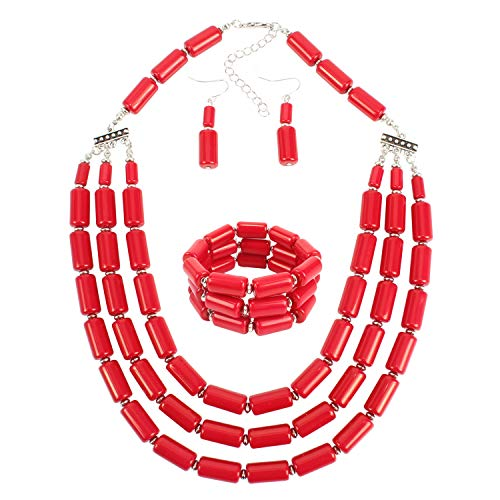 KOSMOS-LI Beaded Jewelry Sets Acrylic Red Beads Statement Necklace Bracelet Earring Set