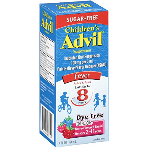 Children's Advil Suspension (4 fl. oz, Berry-Flavored), 100mg Ibuprofen Fever Reducer/Pain Reliever, Dye-Free & Sugar-Free, Liquid Pain Medicine, Ages 2 - 11