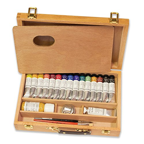 Sennelier Egg Tempera Set Featured in a Beautiful Wooden Box, Includes The Best 15 Colors of Sennelier 2lml Tubes and a Larger Titanium White, Egg Tempera Medium, Metal Mix Cup, Pa -