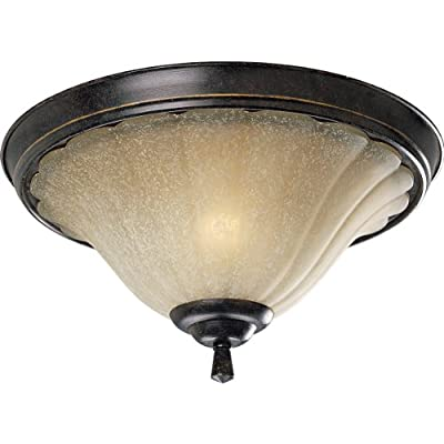 Progress Lighting P3598-84 2-Light Close To Ceiling Fixture with Weathered Sand Glass, Espresso