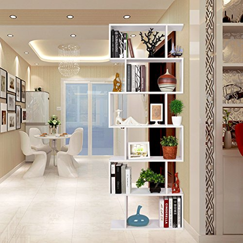 Homfa wood bookcase 6 tier shelves s shape bookshelf free for Arredare parete