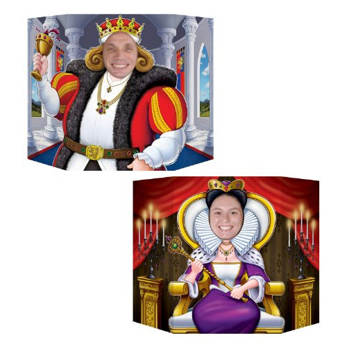 Beistle 54803 King and Queen Decorative Photo Prop, 3-Feet 1-Inch by 25-Inch -