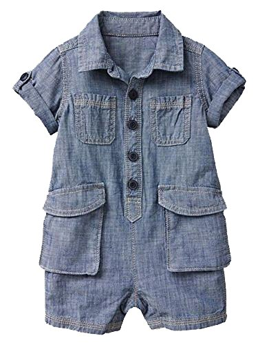 BabyGap Baby Gap Boys Blue Denim Cargo Shorts Romper 3-6 Months