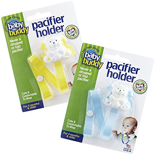 Baby Buddy 2 Piece Unisex Pacifier Holder Clip, Yellow/Light Blue, 4 Months and Up