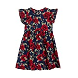 Clearance Sale!OverDose Toddler Kids Baby Girls Floral Sleeveless Princess Formal Party Dress(4T, Dark Blue)