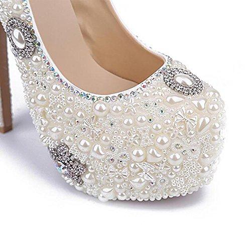 Plataforma Strass De Mano Perla Cristal Hecho De Piedras White Damas Cuero Boda Bomba De SYYAN Mujeres Zapatos Honor A Blanco n1WqXzcv