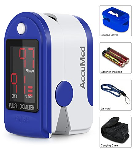 Spo2 Finger (AccuMed CMS-50DL Finger Pulse Oximeter Blood Oxygen SpO2 Sports and Aviation Monitor w/ Carrying case, Lanyard Silicon Case & Battery (Blue))