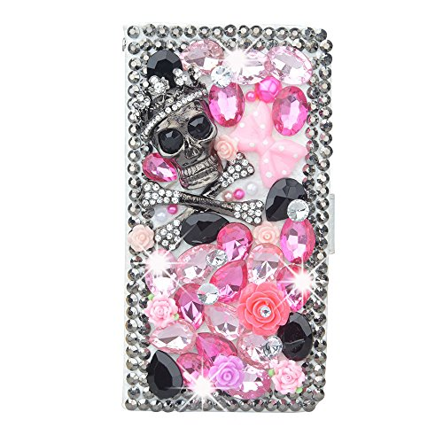 KAKA(TM Samsung Case, Samsung Galaxy Note 5 Creative Design Clear Case Bling Glitter with Skull Pink Crystal Flowers Rhinestone