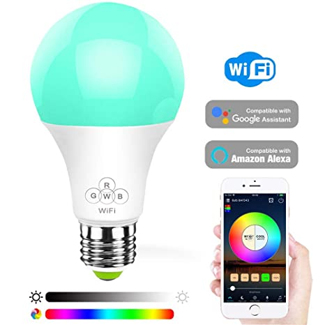 Konxie LED WiFi Smart Lights Bulb, Compatible with Alexa and Google  Assistant and IFTTT,e27 a19 6 5W (50W Equivalent) RGBW Bulb, No Hub  Required,