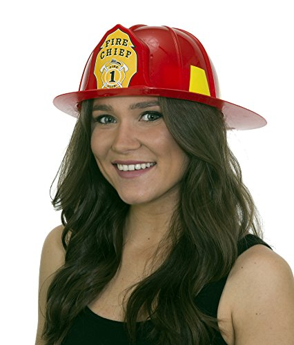 Adults Plastic Fire Hat (27794 Adult Red Fire Chief Helmet Fireman Hat)