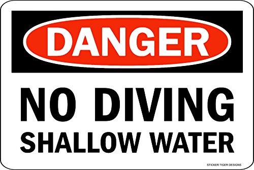 - Sticker Tiger Danger NO Diving Shallow water Pool Metal Sign 8