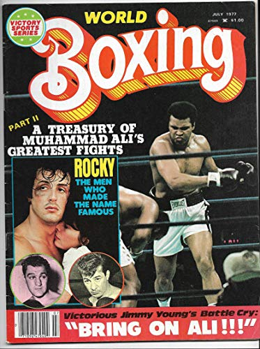 - July 1977 Issue Of World Boxing Magazine Ali & Rocky Balboa (Sly Stallone) Cover