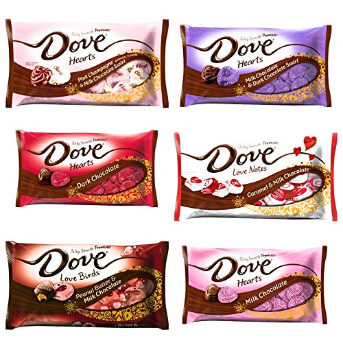 Dove Valentines Chocolate Candy Promises Variety Pack of 6 Bags - A Combination of flavors - Milk and Dark Chocolate, Pink Champagne, Peanut Butter, Caramel (Valentines Ultimate Sampler, 6 ()