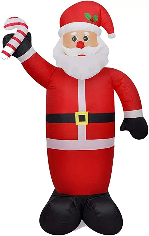 Wakects Papa Noel Inflable,Papa Noel Inflable 240 cm Luces LED Tela Plastico Santa Claus Hinchable,Exterior