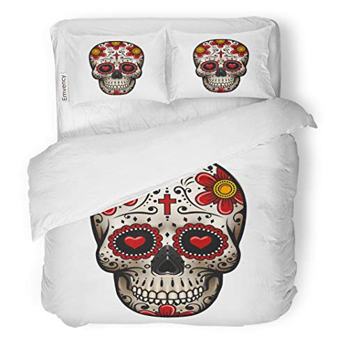 Semtomn Decor Duvet Cover Set Twin Size Colorful Mexican Skull Sugar Flower Tattoo Pink Mexico Heart 3 Piece Brushed Microfiber Fabric Print Bedding Set Cover ()