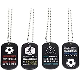 (12-Pack) Soccer Motivational Dog Tag Necklaces – Wholesale Bulk Pack of 1 Dozen Necklaces – Party Favors Sports Gifts Uniform Supplies for Soccer Players Fans Team Members