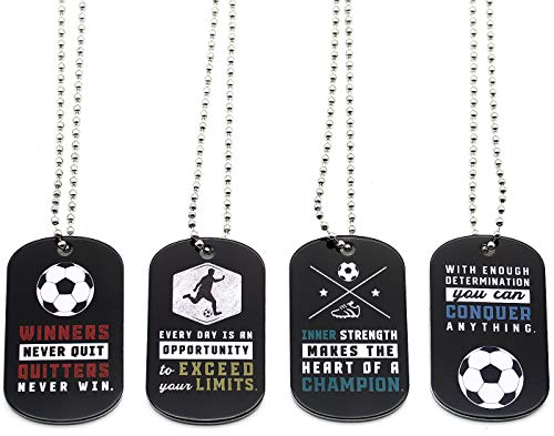 (12-Pack) Soccer Motivational Dog Tag Necklaces – Wholesale Bulk Pack of 1 Dozen Necklaces – Party Favors Sports Gifts…