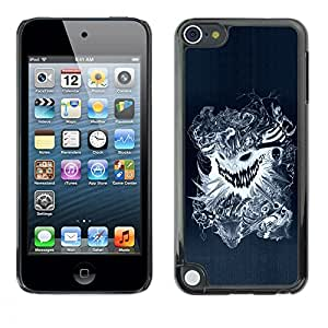 LECELL -- Funda protectora / Cubierta / Piel For Apple iPod Touch 5 -- Cool Design Tattoo Dragon Scary Skull Badass --