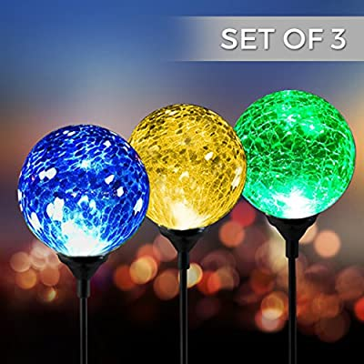 Solar Powered Crackle Glass Ball- 7 Color Changing Stake Lights- Set of 3- Weatherproof Design- Decorative Landscape Lamps- Wireless Outdoor LED Accent Lighting- Best Decor for Garden/ Yard/ Path (3)
