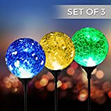 Solar Powered Crackle Glass Ball- 7 Color Changing Stake Lights- Set of 3- Weatherproof Design- Decorative Landscape Lamps- Wireless Outdoor LED Accent Lighting- Best Decor for Garden/Yard/Path (3) Review
